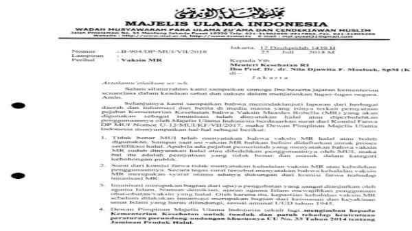 Surat MUI tentang vaksin MR
