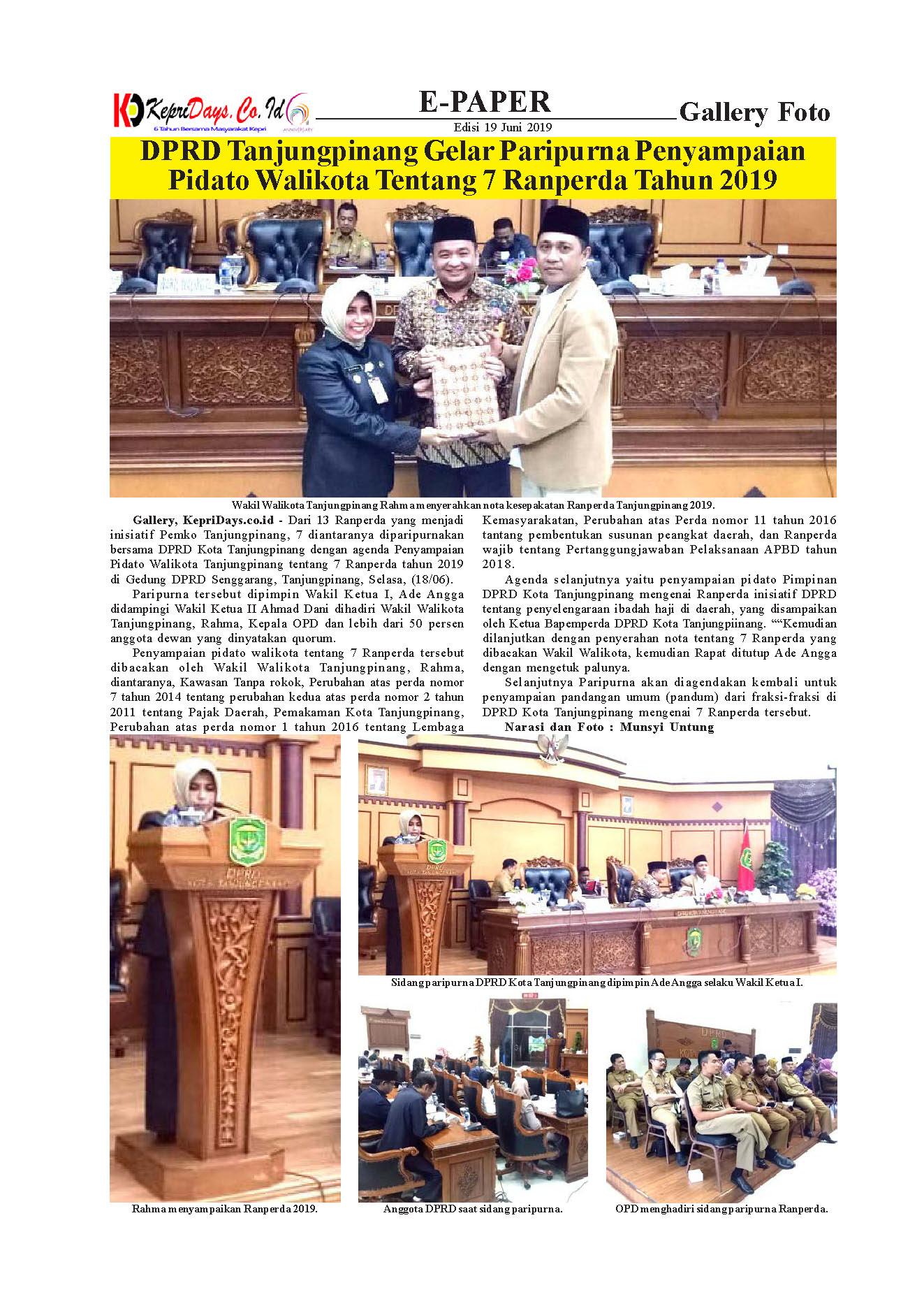 DPRD Tanjungpinang Gelar Paripurna Penyampaian Walikota ...